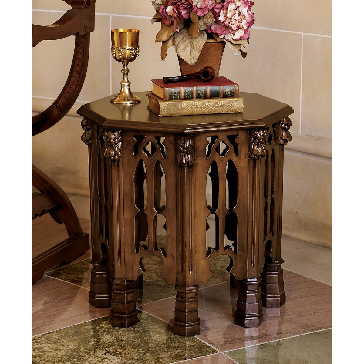 old world styled medieval gothic side table