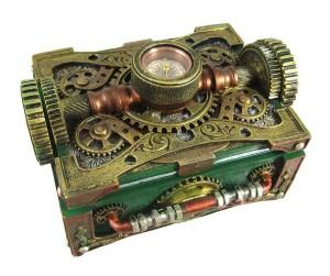 Steampunk Trinket / Jewelry Box Steam Punk W/ Compass