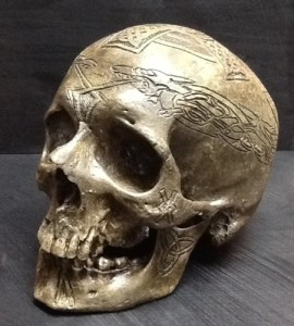 skull replica carved celtic front
