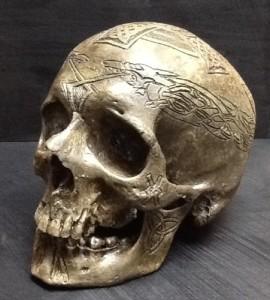 skull replica carved celtic front