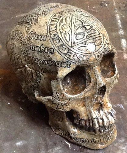 templar knight carved replica human skull